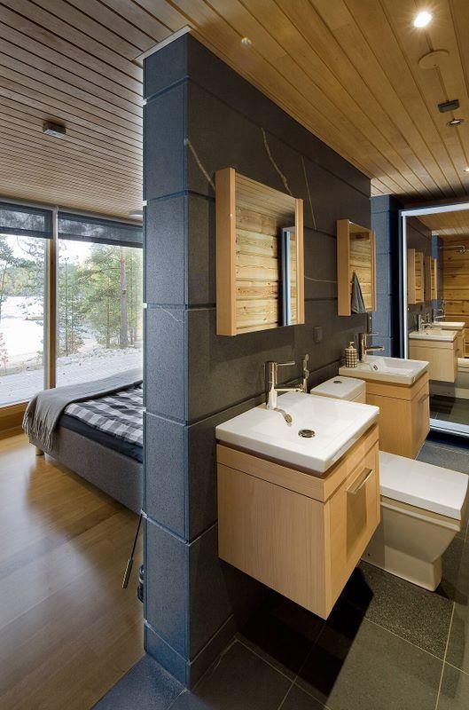Salle de bain, intérieur maison madrier