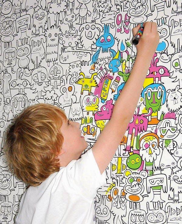Золотые буквы: Обои для рисования в детскую