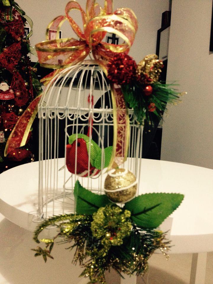 Jaula de pájaro navideña