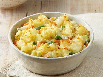 Gratin de pommes de terre, carottes et haricots verts