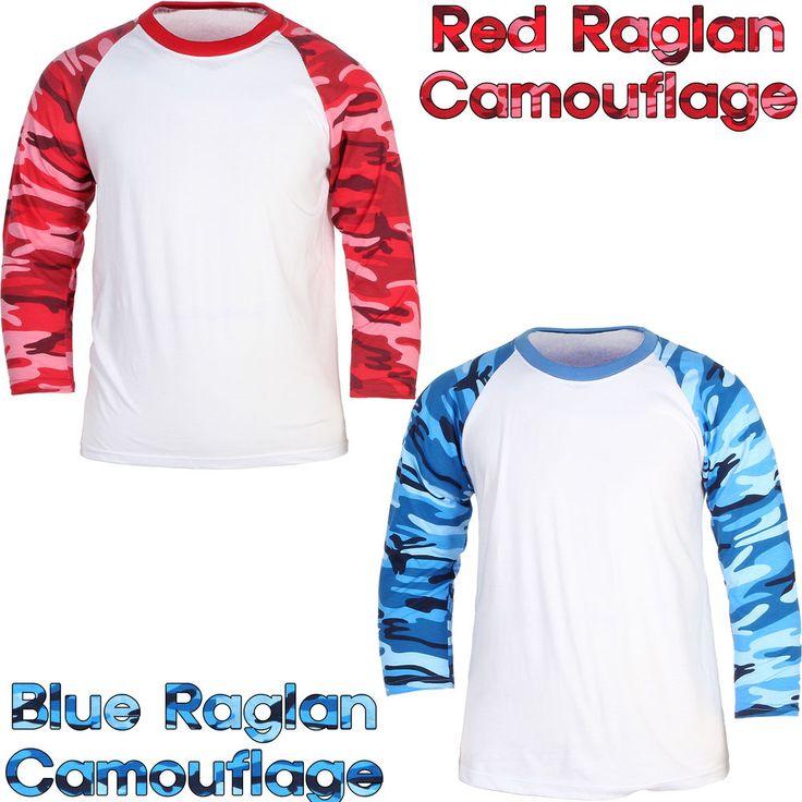 Raglan T-Shirt 3/4 Sleeve Baseball Sport Camouflage Military Sport Fashion Tee #hellobincom #RaglanTShirt34Sleeve