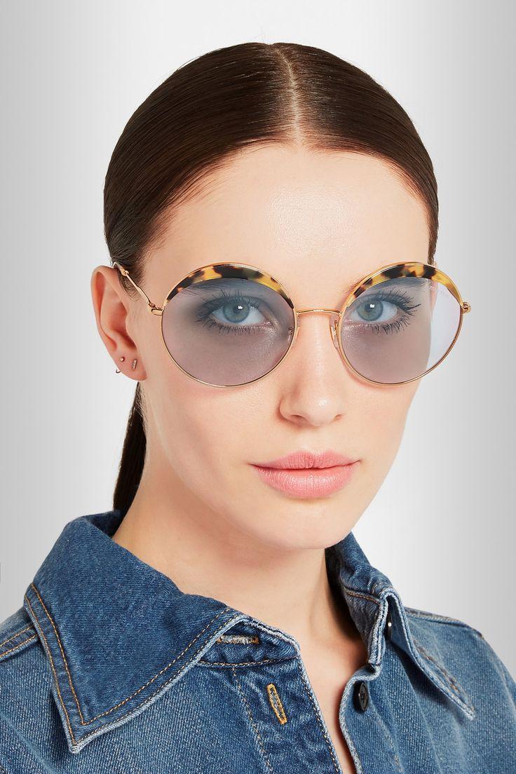 Miu Miu | Round-frame acetate and metal sunglasses | NET-A-PORTER.COM