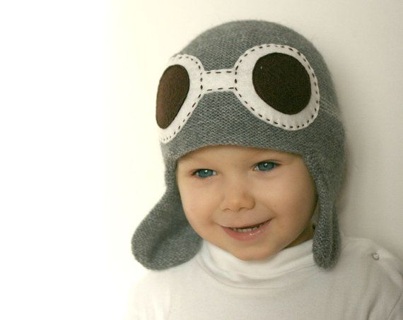 Pilot kids hat - Child knit hat - Aviator hat with goggles - Baby Flyer knit hat - Boys knit hat - Toddler  hat