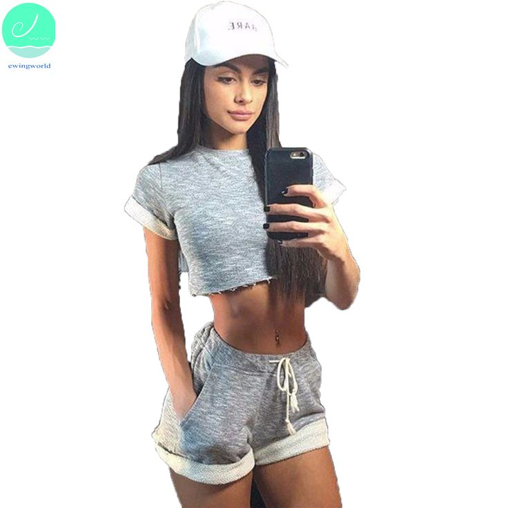 >> Click to Buy << Sexy Casual Short Sleeve T-shirts For Women 2017 New Design Summer O-neck Grey Show Navel Two Pieces Suits Cotton ClothingCXSD30 #Affiliate