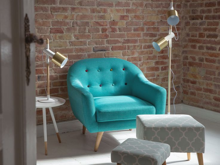 Living-room-armchair-Vintage-Turquoise-fabric-chair-Tufted-Coloured-buttons