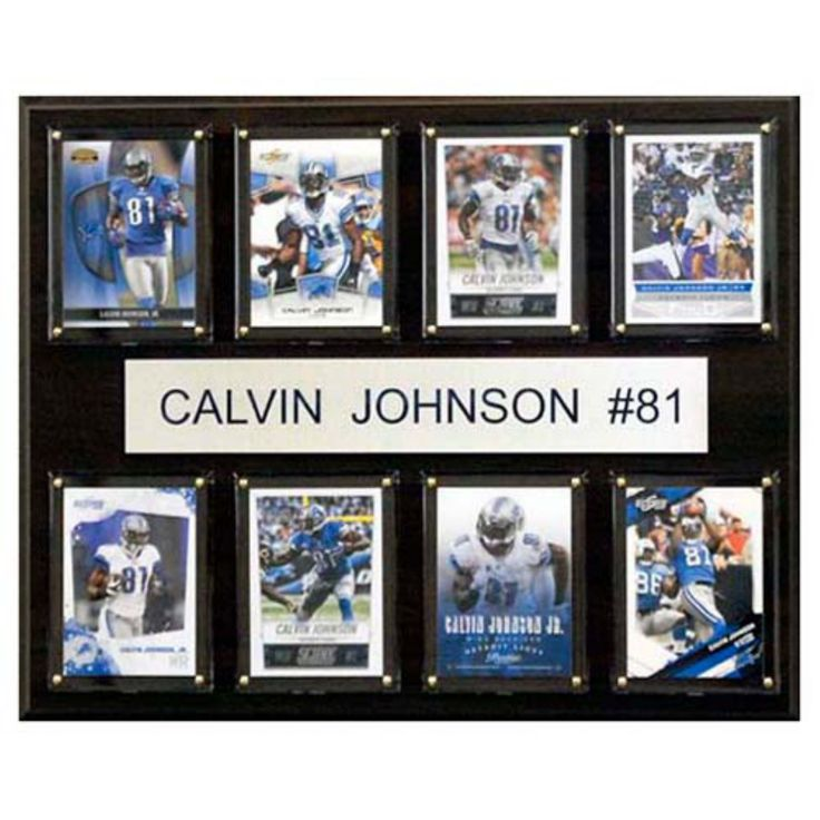 C and I Collectables NFL 15W x 12H in. Calvin Johnson Detroit Lions 8 Card Plaque - 1215CALVINJ8C