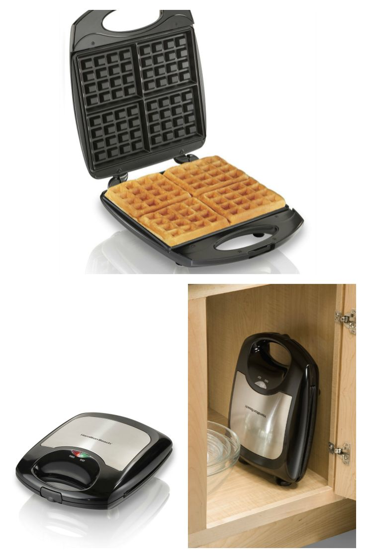 Handy Hamilton Beach #Waffle Maker. Makes 4 slices of Belgian waffles at a time, and can be stored vertically for convenience.