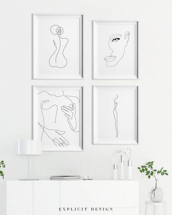 Summary One-Line Female Determine Printable, Minimalist Nude Girl Physique From Again Artwork, Positive Bare Prints, Illustration Poster, Digital Print