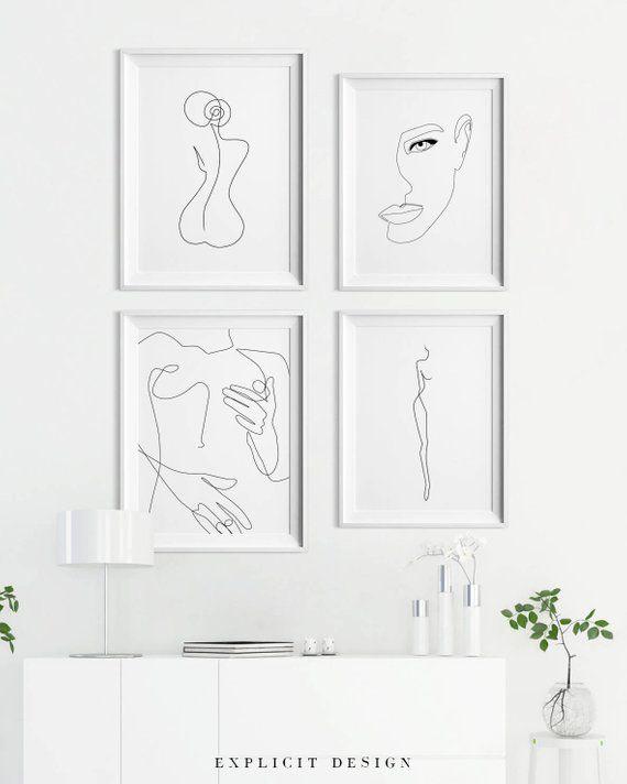 Abstrakte einzeilige weibliche Figur bedruckbar | …