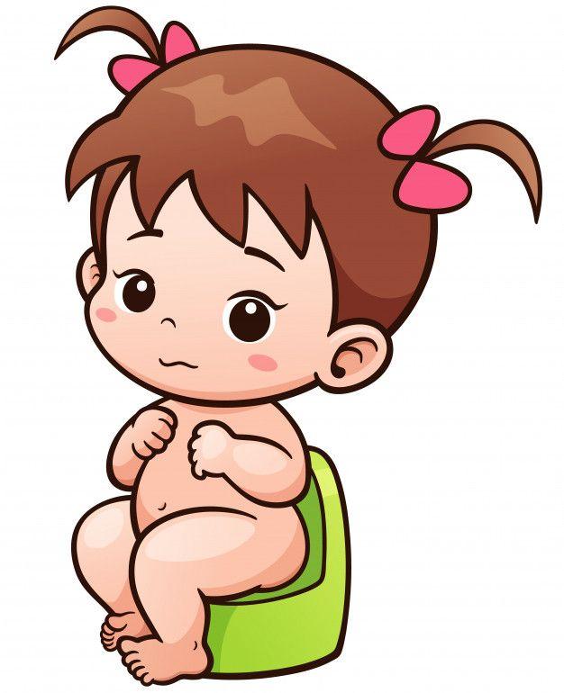 Dibujos Animados Lindo Bebe Sentado En El Bano Desenho Animado