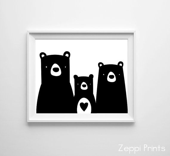 Bear nursery boy forest woodland zoo kids art print heart black white many sizes available
