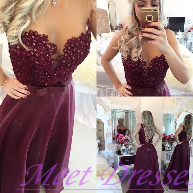 2016 Burgundy Prom Dresses Backless Lace Bodice Modest Evening Dress With Silver Beaded Long Chiffon Party Gown For Teens