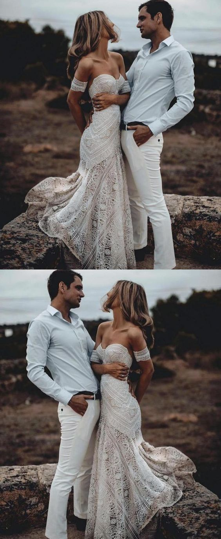 Mermaid Sweetheart Sweep Train Lace Beach Wedding Dress, country beach boho wedding dresses, simple lace mermaid bridal gowns #bohodress #wedding