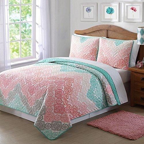 Full Queen Pink Brown Bohemian Quilt Set Light Green Antique Lace Chevron Casual Floral Zig Zag V Shaped Jagged Lines Pattern Classic Adult Bedding