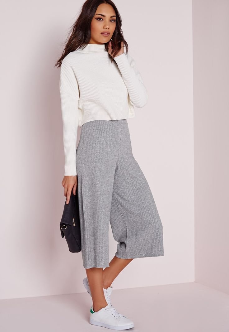 Ribbed Culottes Grey - Trousers - Culottes - Missguided