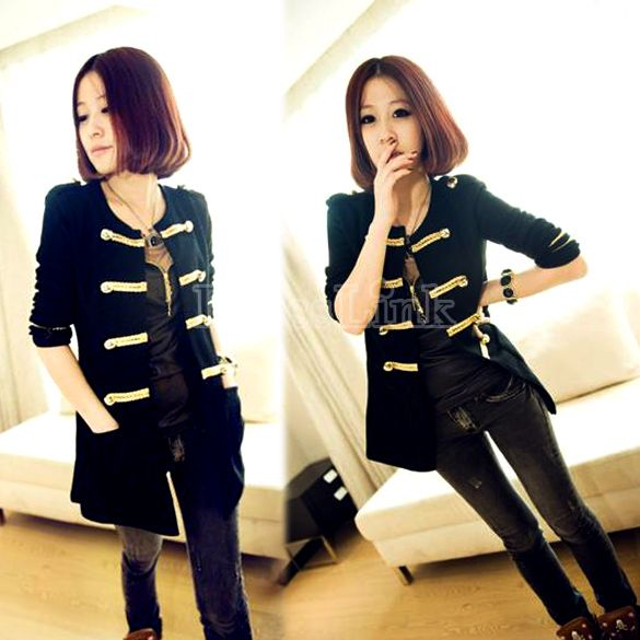 Women's Golden Buttons Double-breasted Cardigan Outerwear Coat Black