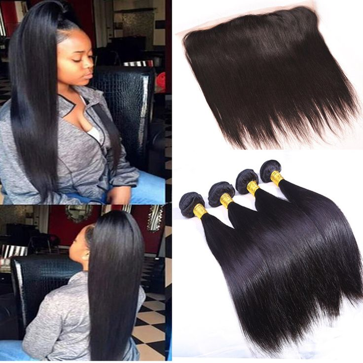 Ear To Ear Lace Frontal With Baby Hair And Bundles Brazilian Straight Hair With Closure 3 Bundles Straight Hair With Closure