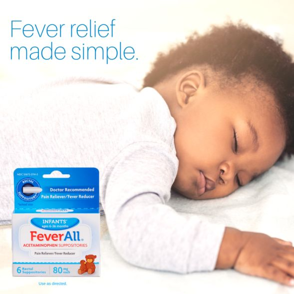 Your baby is pure, his fever relief should be, too. Infants' FeverAll has fewer inactive ingredients than the leading acetaminophen oral liquid brand.* #BeFeverReady with FeverAll.   *Versus infants' Tylenol acetaminophen oral suspension.