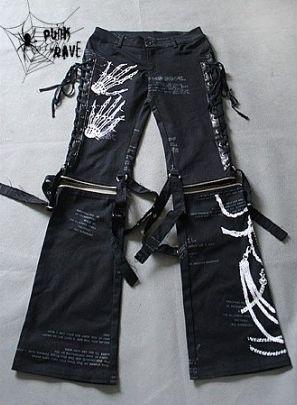 Punk Rave Visual Kei Skeleton Trousers | Pixieknix