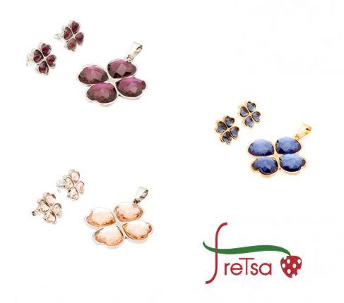 """Conjunto #fretsa de #colgante y #pendientes, disponible en varios colores, por que... """"para gustos hay colores""""."""