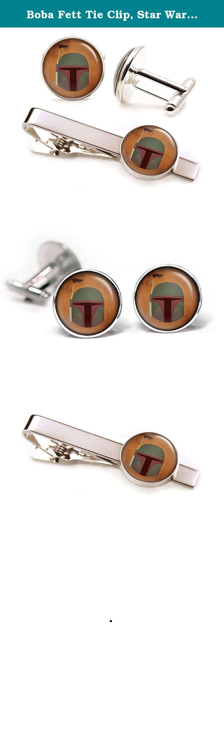 """Boba Fett Tie Clip, Star Wars Cufflinks, Jedi Jewelry, Darth Vader, Stormtrooper stormtroopers Death Star, Star Wars Wedding Party Gifts, Groomsmen Gift. -10% Off- purchases of two or more items from my amazon shop. For more cufflinks and tie clips check out my other listings by clicking the """"SharedImagination"""" link at the top of the listing above the product title. These cufflinks and tie clip feature a high quality image underneath glass. The glass gives the image a great shine and..."""