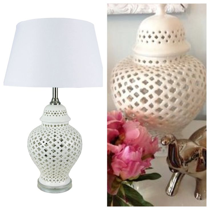 The Galla Table Lamp combines a classic colour palate of white and silver to create a versatile & sophisticated side table lamp. $235 including shade. www.homeaboutstyle.com.au #lattice #quatrafoil #patterns