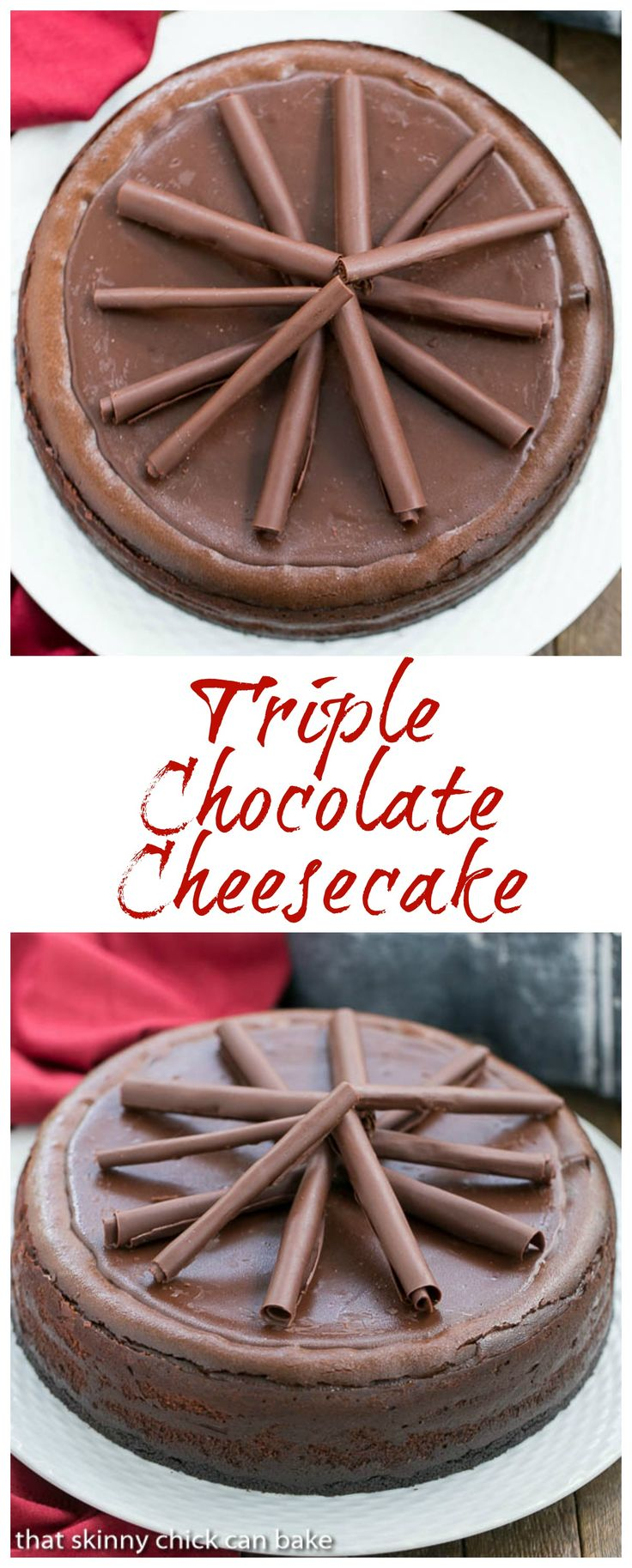 Triple Chocolate Cheesecake | A dreamy, chocolate lover's dessert! @lizzydo