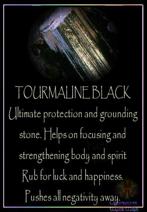 TOURMALINE BLACK Ultimate protection and grounding stone. Helps on focusing and strengthening body and spirit Rub for luck and happiness. Pushes all negativity away. - Pinned by The Mystic's Emporium on Etsy