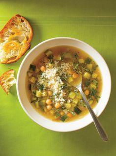 Reccette de Ricardo de soupe de pois chiches aux courgettes