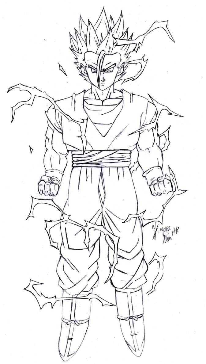 Mystic Gohan Ssj2 Lineart By Jorgee Alves17 Gohan Fighting Poses Gohan Ssj2