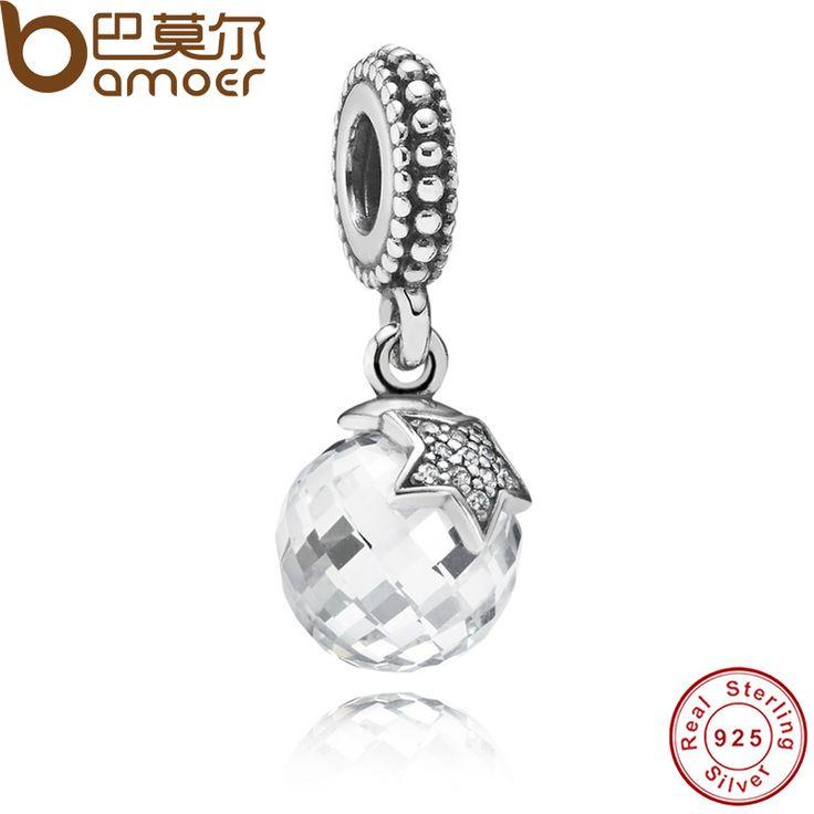 Authentic 925 Sterling Silver Moon & Star, Clear CZ Charm Pendant Fit  Bracelet & Necklace PAS080