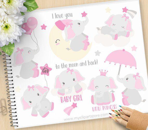 Gianna S Pink And Gray Elephant Nursery Reveal: Baby Girl Elephant Clipart, Pink Elephants, Moon, Stars