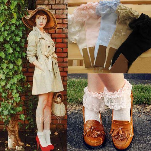 Rüschen-Socks Vintage Lace Ruffle Frilly Ankle Socks  | eBay