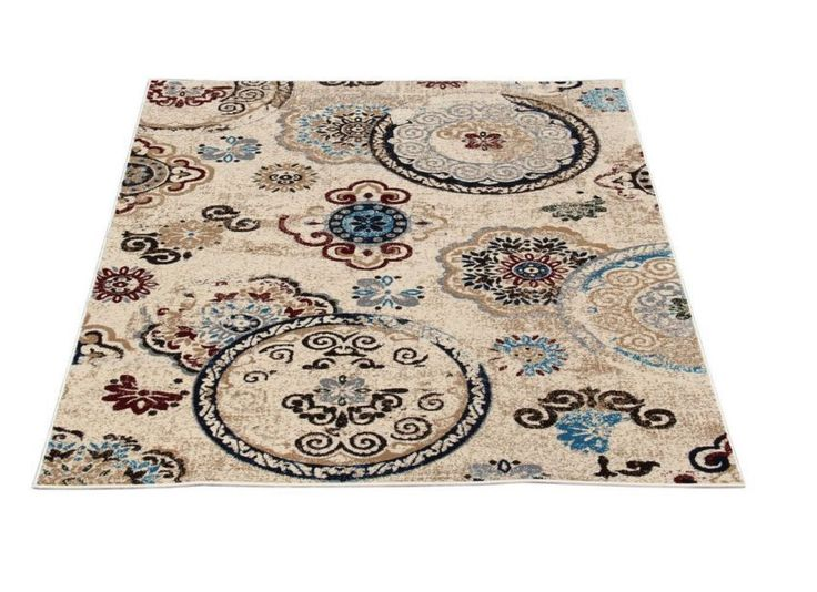 Medallion Ivory Area Rug 5' X 7' Anti-Bacterial Stain Resistant Living/Bedroom  #MaxyHome #Modern