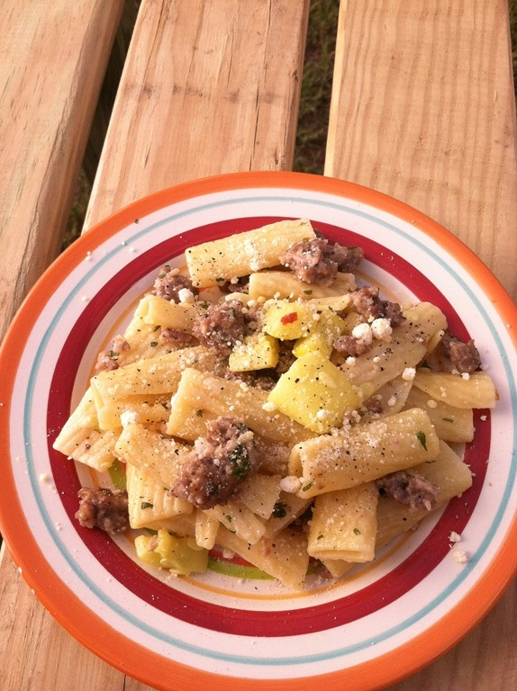 Rigatoni with Summer Squash, Spicy Sausage and Creamy Goat Cheese!