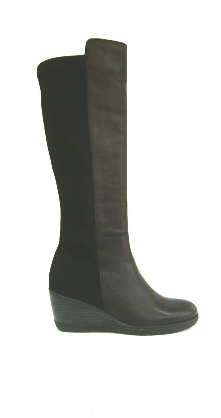 MODELO 3031 NEGRO #botas#cuña#piel#hechaenespaña