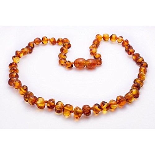 100% Baltic amber Necklace 32cms, variety of colours. Fast and Free Delivery. Money Back Guarantee. (Cognac)