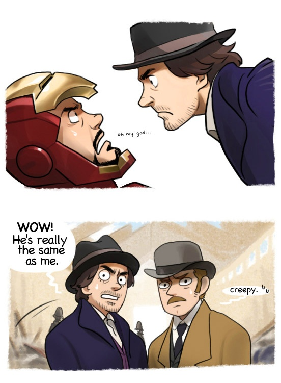 Iron Man - Sherlock Holmes crossover, by Hallpen (part of a comic strip here: http://hallpen.deviantart.com/art/SH-IM-crossover-P2-283595522)