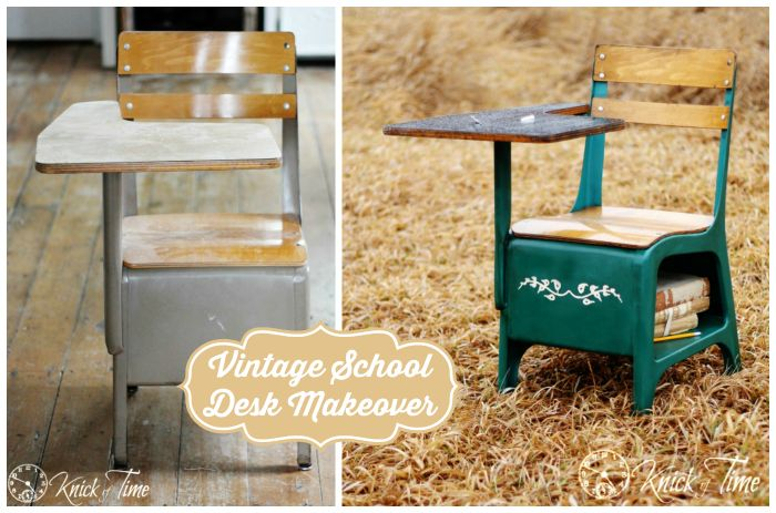 I have a desk similair to this,,,have to decide what color to paint it! Vintage School Desk Before and After Makeover