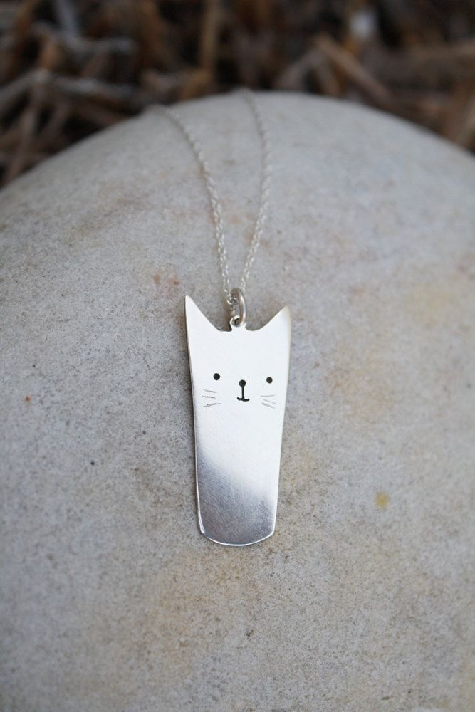 If I really liked cats: kitty pendant cat necklace sterling silver cat cartoon jewelry anime inspired.