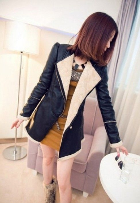 [$34.21]Lapel fleeced-lined zipper women PU wind coats HL-L079 black white L