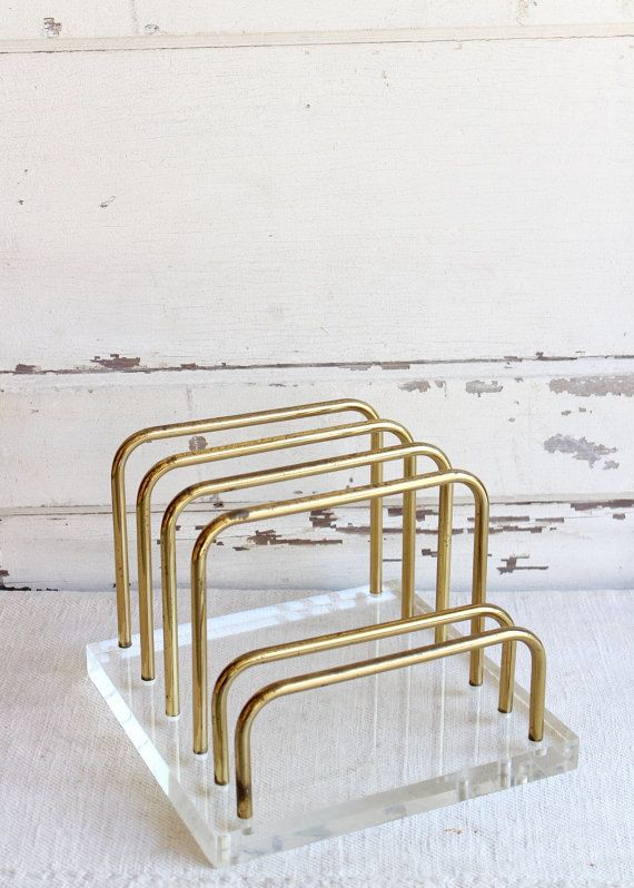 Just snagged this for my Inspired Office!  I LOVE vintage office supplies and knew I'd regret letting this one slip by | Vintage Lucite and Brass Desk Organizer Magazine by picked home on etsy