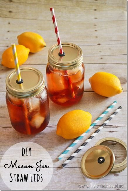 Perfect for fun summer drinks & get-togethers. Mason Jar Straw Lids Tutorial at thatswhatchesaid.net #