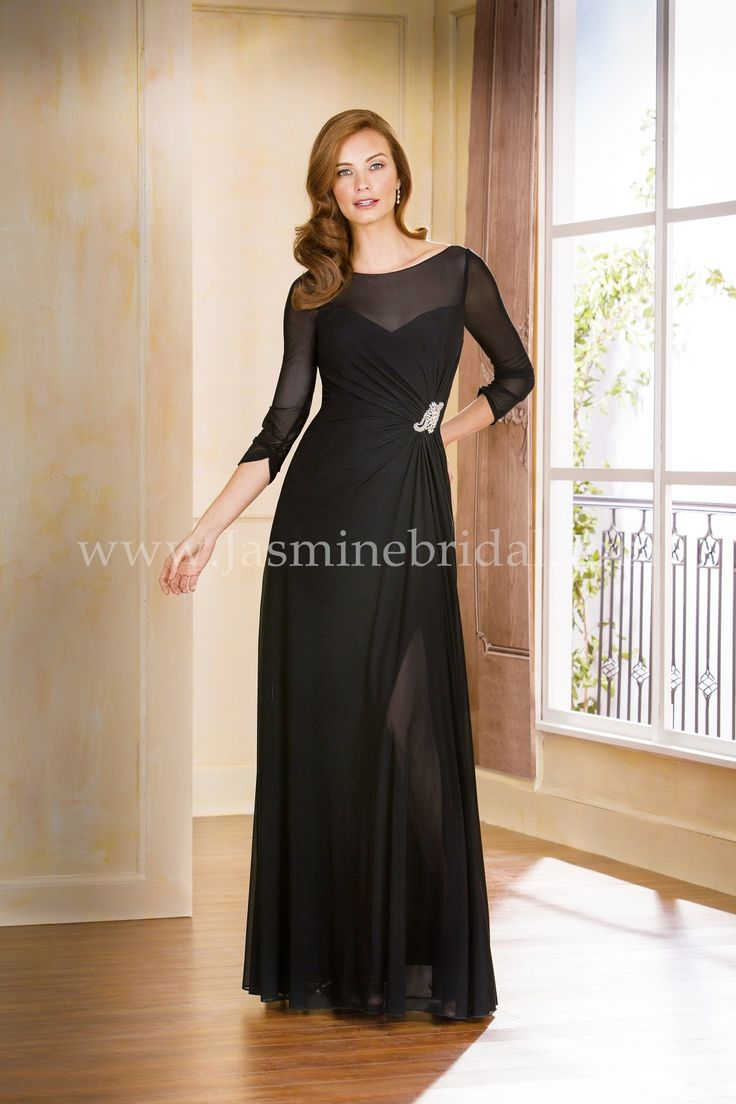 Jasmine Bridal Jade Style In Black Look Lavish This Sheath Mother Of The Bride Dress Featuring A Boat Neckline Gathered Bodice With Beading