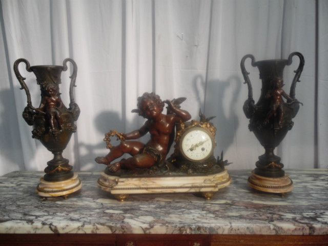 clock 3 piece regul patiner - Pendules - Miroirs - Pendules - Tableaux - Nord Antique