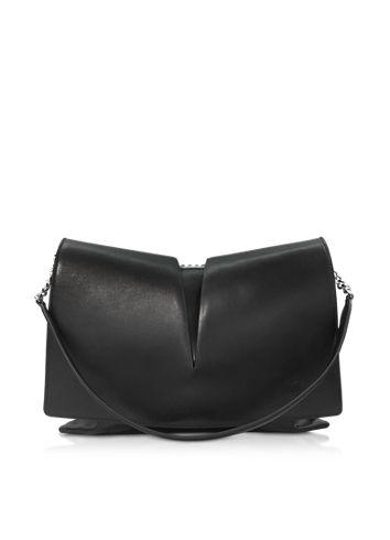 Jil Sander View Medium Black and Nude Leather Shoulder Bag