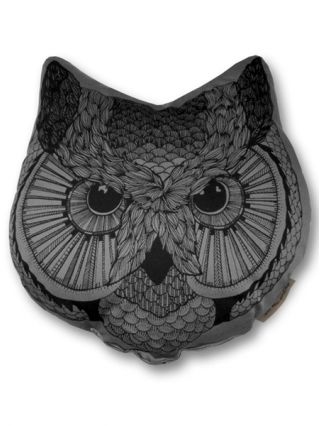 """Owl Face"" Pillow by The Rise And Fall (Grey)"