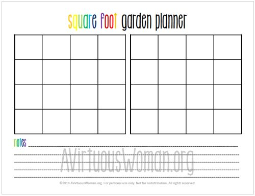 This free printable Square Foot Garden Planner will help you organize your garden this year! @ AVirtuousWoman.org