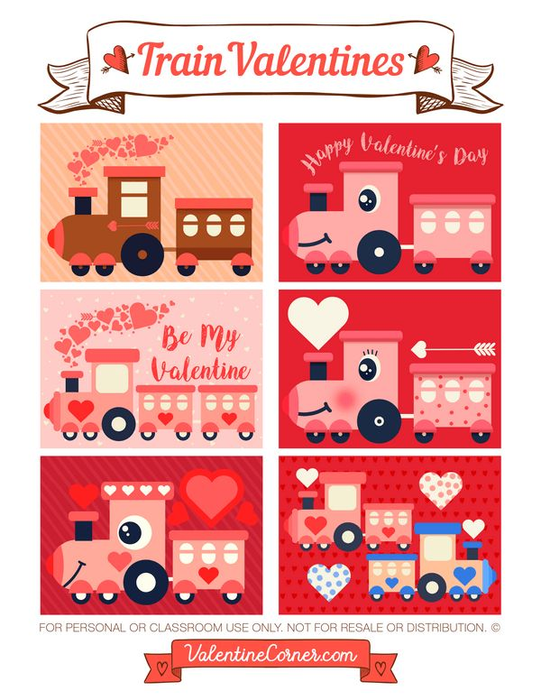 Free printable train Valentine cards. Download the Valentines in PDF format at http://valentinecorner.com/download/valentines/train/