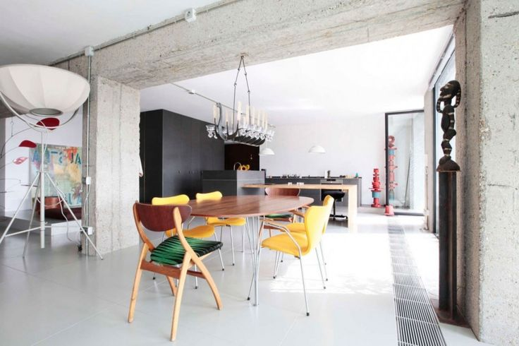 Loft: Spacious Pallars Loft Interior with Minimalist Style in Barcelona, Spain by KAYSERSTUDIO, Dining Room and Kitchen View in Open Floor Pallars Loft by KAYSERSTUDIO with Cool Decorations and Epic Exposed Concrete Columns